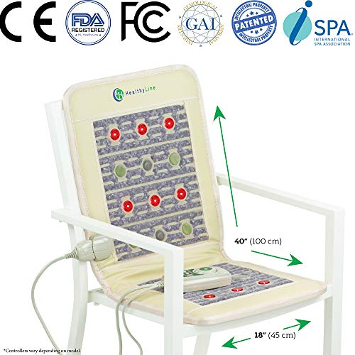 HealthyLine Amethyst Jade Tourmaline Chair Pad with Heated Far Infrared Therapy, PEMF Therapy, Photon Light Therapy - 40 in x 18 in Firm