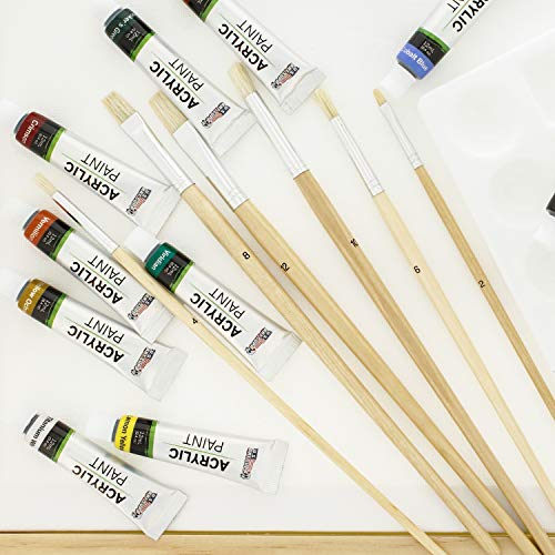 US Art Supply 21-Piece Acrylic Painting Table Easel Set with, 12-Tubes Acrylic Painting Colors, 11''x14'' Stretched Canvas, 6 Artist Brushes, Plastic Palette with 10 Wells by US Art Supply (Image #5)
