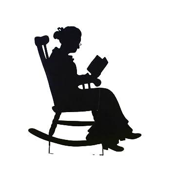 rocking chair silhouette. Charming Rocking Chair Shadow Figure Yard Stakes, Grandma Silhouette C