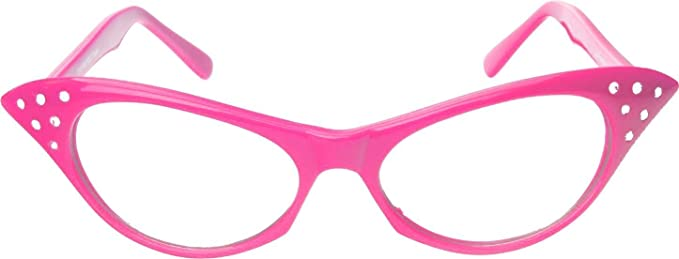 f1455dc6ce0 Amazon.com  Hip Hop 50s 60s Womens Cat Eye Rhinestone Glasses (pink ...