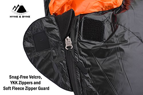 "Hyke & Byke Eolus 15 & 30 Degree F 800 Fill Power Hydrophobic Goose Down Sleeping Bag with ClusterLoft Base - Ultra Lightweight 3 Season Men's and Women's Mummy Bag Designed for Backpacking 5 SAVE SPACE and SHAVE WEIGHT - Our new 2019 model is designed to maximize durability, warmth, and water resistance. Our quest for the perfect solution led us to utilize Hydrophobic 800 FP Goose Down with a revolutionary ClusterLoft base. ClusterLoft performs better than down for durability under compression and moisture resistance. It has been called ""the closest synthetic insulation to natural down ever developed"" due to its performance and its construction mimicking natural down clusters. STAY WARM and DRY as a result of Hydrophobic Goose Down insulation capabilities and water-resistant DWR fabrics - the microscopic air clusters found in down feathers creates ""loft"" that traps heat and keeps you warm for cool weather camping. HIKE FARTHER with the LIGHTEST MUMMY DOWN SLEEPING BAG available for this quality at the price. Summit any mountain or camp by the summer sea with these compact bags and have room for carrying your favorite fleece blanket or silk liner, goose filled pillow, and pad. Weighs ONLY: Short: 1.94 / 2.44 lbs; Regular: 2.05 / 2.62 lbs; Long: 2.16 / 2.80 lbs for the 30 / 15 °F bags, respectively. Compare to other brands to see the price difference we achieve through direct-to-consumer sales."