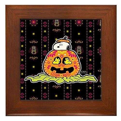 CafePress - Day of The Dead Snoopy Pumpkin - Framed Tile, Decorative Tile Wall Hanging