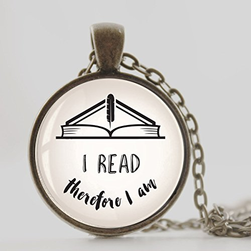 Book Lover's gift Inspirational quote jewelry, Antique Bronze finish with Cable chain, vintage style pendant necklace, I read therefore I am quote necklace