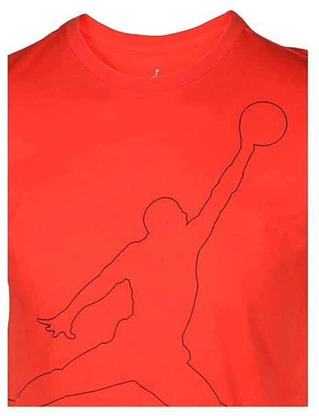 fd9b760ea616 Amazon.com  Nike Jordan Men s Dri-Fit Jumpman Rise T-Shirt-Max  Orange-Large  Sports   Outdoors