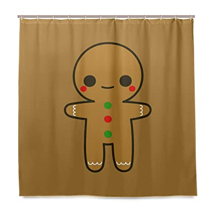 Amazon Water Repellant Cute Gingerbread Shower Curtain Sets