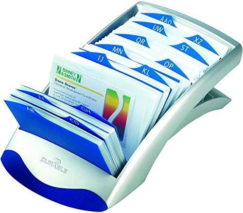 schedario da scrivania per rubrica argento metallizzato Telindex Desk Vegas 500 schede indice alfabetico 25 tasti DURABLE 241223 131x67x245 mm