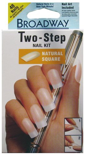 Amazon.com : Broadway 2 Step Natural Square Nail Kit, 48 Nails with ...