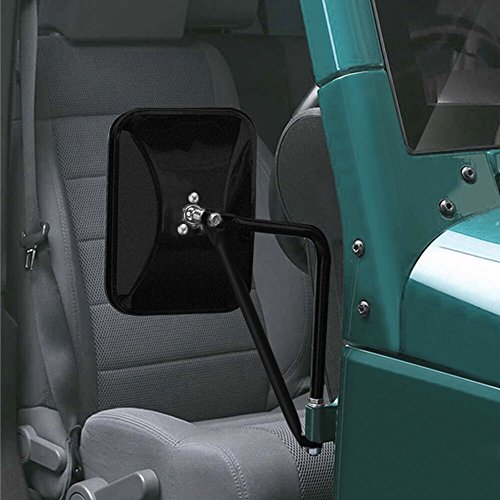 MICTUNING Shake-proof Off-Road Rectangular Adventure Mirrors, Bolt-on Door Hinge Mirror Fits All Jeep Wrangler JK CJ YJ TJ - 1 Pair, Textured Black (Fresh Kit Air Diameter)