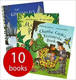 Julia Donaldson Collection 10 books in zip lock bag: The Gruffalos Child / Charlie Cooks Favourite Book / Monkey Puzzle / Wake Up Do Lydia Lou! / Snail and the Whale /
