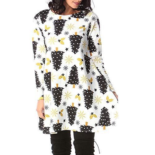 (KIKOY Women's Long Sleeve Christmas Dress Xmas Gifts Print Flared A Line Dress)