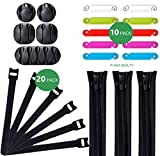 Cable Organizer Kit 38 Pcs, The Complete Cable Management System - 20 Black Cable Straps, 10 Cable Colorful Labels, 5 Adhesive Cable Holders and 3 Zip Up Black Wire Sleeves