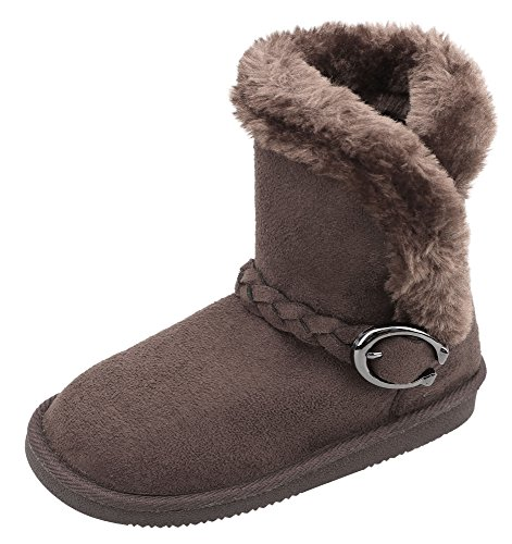 Arctic Paw Kids' Sherpa Lined Faux Suede Winter Boots with Braided Buckle Trim Chocolate 1