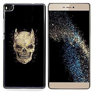 - Horns Bones Skull Devil Horror Death - - Snap-On Rugged Hard Cover Case Funny HouseFOR HUAWEI P8