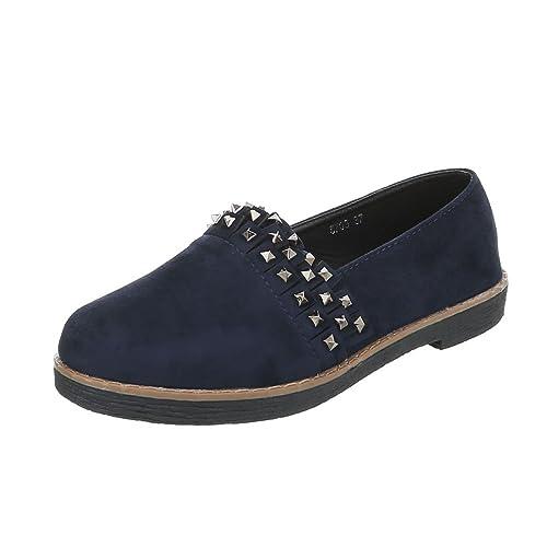 Zapatos para mujer Mocasines Tacón ancho Slipper Azul Tamaño 38: Amazon.es: Zapatos y complementos