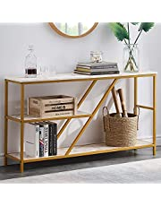 Modern Sofa Console Table for Entryway, 3 Tier Hallway Table Entry Table with Storage Shelves, Faux Marble/Mustard Yellow