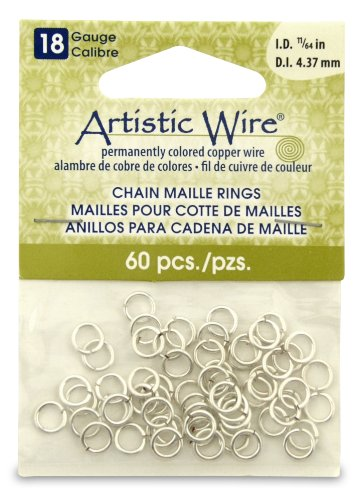 - Artistic Wire 18-Gauge Non-Tarnish Silver Chain Maille Rings, 11/64-Inch Diameter, 60-Pieces