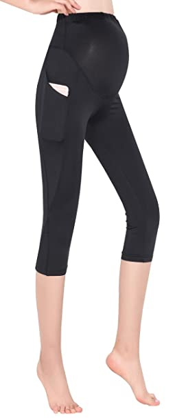 73ae832f7e930 Foucome Women's Maternity Active Workout Yoga Capri Leggings Over-Bump Pregnancy  Tights Pants with Pockets