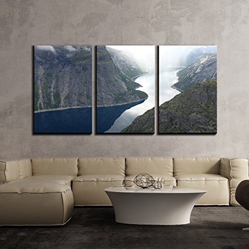 Beautiful Landscape with Valley in Mountain Areas in Misty Day x3 Panels
