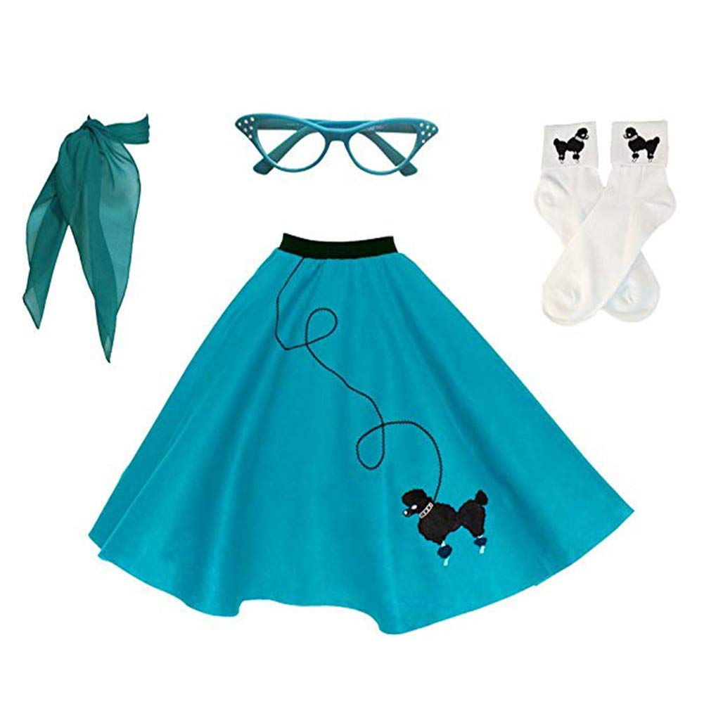 Newcos Adult 4 Piece Poodle Skirt 1950s Girls Costume Accessory Set - Poodle Skirt, Scarf, Glasses, Socks