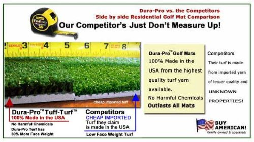 Golf Mat 4' x 5' Dura-Pro Plus Residential Golf Hitting Mat FREE Golf Ball Tray, FREE Balls, FREE Tees - FREE SHIPPING - 8 Year UV Warranty - Dura-Pro Golf Mats Make All Other Golf Mats Obsolete! Family Owned And Operated Since 1997. As Seen On The Golf C by Dura-Pro Residential Golf Mat (Image #2)