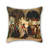 PaPaver oil painting Solomon Alexander Hart - The Feast of the Rejoicing of the Law at the Synagogue in Leghorn, Italy pillow shams 16 x 16 inches / 40 by 40 cm gift or decor for husband,birthday,t