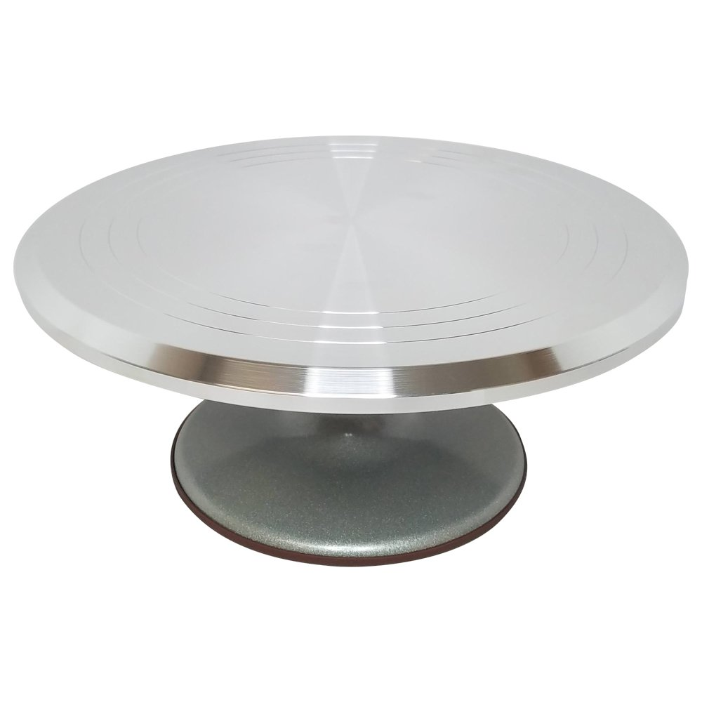Stainless Steel Top Rotating Turntable Stand - 12 Inches - Perfect for Decorating and Frosting Cakes - Cake Turntable, Revolving Cake Stand - Decorate Your Favorite Cakes - (12''x5''x12'')