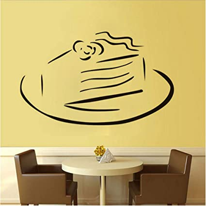 Stencil da parete cucina dolce torta su un piatto adesivi ...