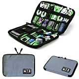 Electronics Organizer Travel bag,Waterproof Portable Cable Cord Bag Organizer,Travel Gear Carry Bag for Cables External Flash Drive Mouse Memory Card Power Bank and More (M, Grey)