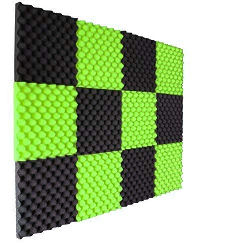 12 Pack Lime Green/Charcoal Slim egg crate foam acoustic foam tiles soundproofing foam panels sound insulation soundproof foam padding sound dampening Studio sound proof padding 1 x 12 x 12