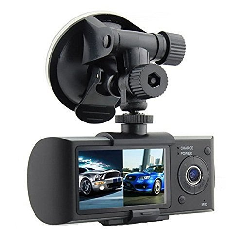 Haoponer 2.7 Inch LCD Car DVR Vehicle Safety Backup Dashboard Dual Camera Recorder Dash Cam 140 Wide Angle with GPS Logger G-sensor Loop Recording ()