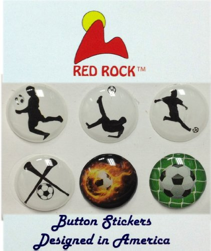 Soccer Fans Ball Horns 6 Pieces Home Button Stickers for iPhone 5 4/4s 3GS 3G, iPad 2, iPad Mini, iPod Touch