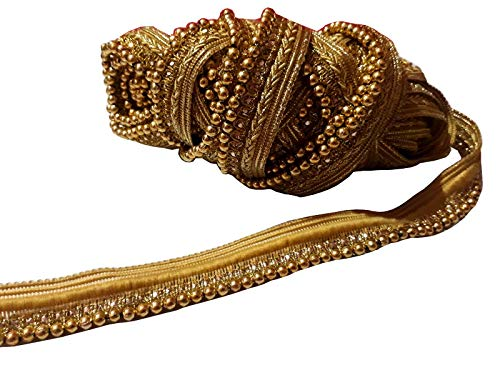 Gold Motif Work Stone Work Border by 9 Yard - Gold Gota Patti Lace,Glass Beads,Stone Work Bollywood Sari,Wedding Saree Border Embroidered Ribbons Indian Trim Embellishmets