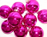 """Pack of 9 Shiny Hot Pink Glass Ball Christmas Ornaments 2.5"""""""