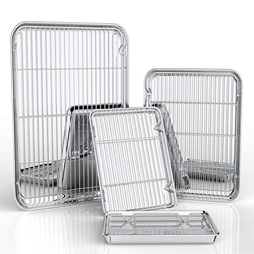 Stainless Steel Baking Sheet - Baking Sheets with Baking Rack Set of 8 - Estmoon Pure Stainless Steel Baking Pan Tray Cookie Sheet with Cooling Rack, Non Toxic & Healthy, Mirror Finish & Rust Free, Easy Clean (4 Sheets + 4 Rack)