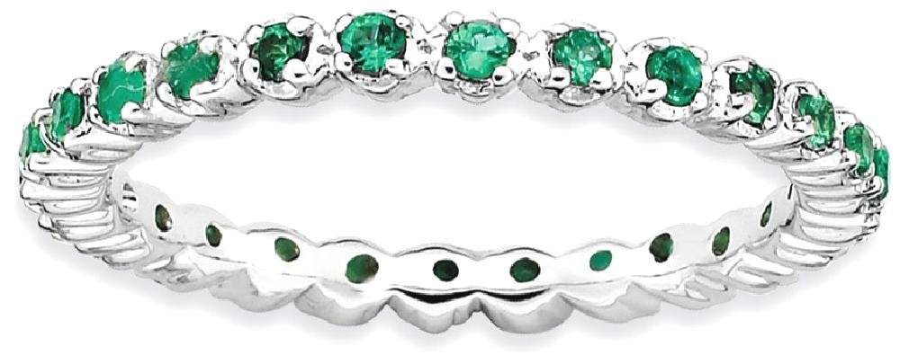 ICE CARATS 925 Sterling Silver Created Green Emerald Band Ring Size 8.00 Stone Stackable Gemstone Birthstone May Fine Jewelry Gift Set For Women Heart