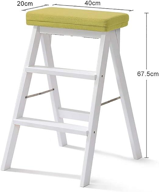 Escalera de Taburete de Madera Maciza Plegable Blanca para Adultos, Taburete de Cocina Escalera de jardín retráctil Plegable de Cocina multifunción (Color : C): Amazon.es: Hogar