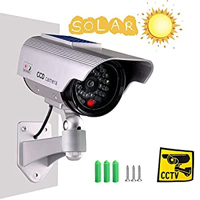 Iseeusee Solar Powered Dummy Surveillance Bullet Fake Camera With Flashing Led-Grey Battery Recharged by Sun, Home or Business, Silver by KOCODA TECHNOLOGY CO LTD