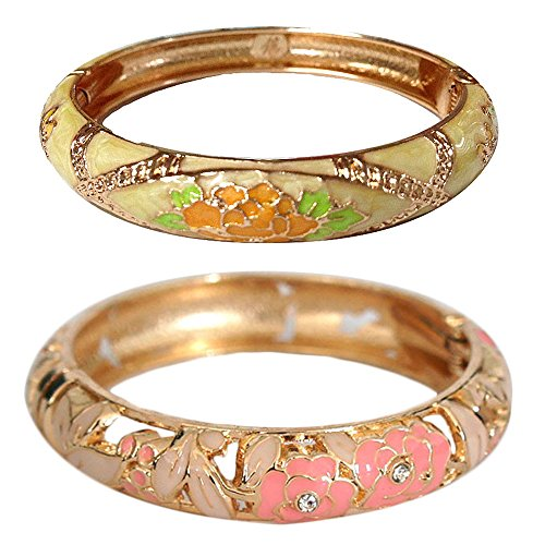 ts Cloisonne Jewelry Hollowed Enamel Flower Hinge Open Bangles Gift 88A10-55A128 pink and yellow ()