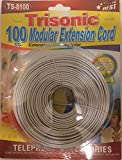 Trisonic Telephone Extension Cord Phone Cable Foot, White, 100Ft.
