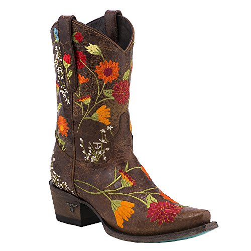 Corsetto Womens Flower Power Western Boot Snip Toe - Lb0330a Marrone