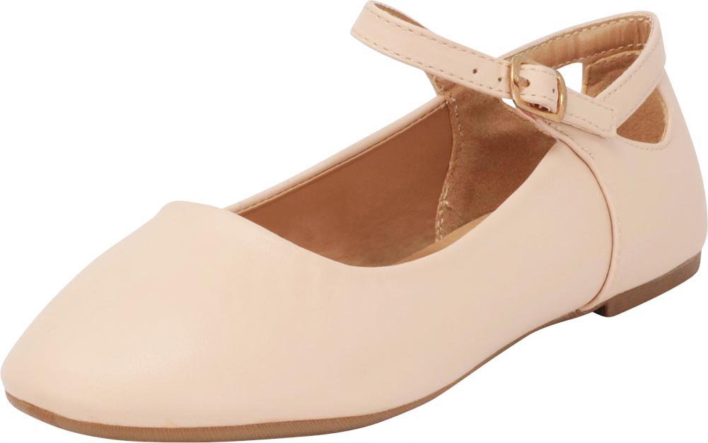 Cambridge Select Women's Closed Round Toe Mary Jane Buckle Strap Cutout Caged Ballet Flat,10 B(M) US,Nude Pu