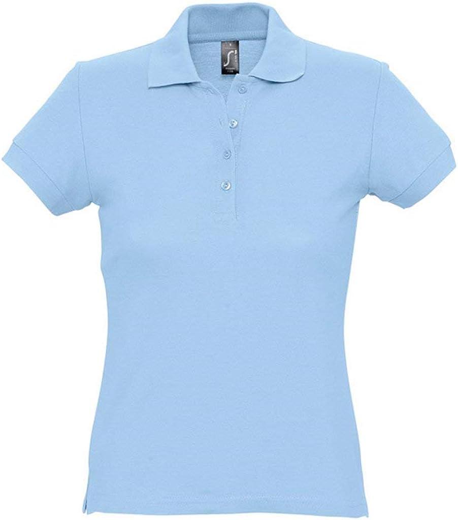 SOLS - Polo de piqué de algodón pasión para Mujer Azul Azul ...