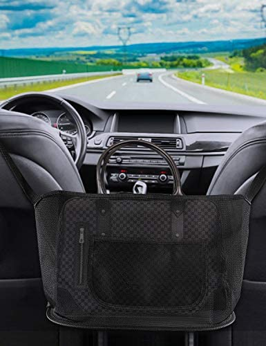 Car Mesh Organizer Net Pocket,Seat Back Net Bag Handbag Holder,Car Hooks for Purses and Bags Front Seat,Cargo Tissue Purse Holder Pocket Black