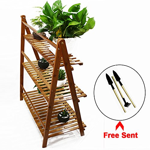 IDMD 3-Tier Fold Bamboo Wood Ladder Plant Stand Home Garden Balcony Flower Wood Decorative Plant Stand Display Shelf (Multi-Functional,27.6 x 15.0 x 35.4 inch,3 tools sent) - Bamboo Flower Stand