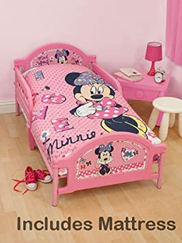 Minnie Mouse \'Shopaholic\' Junior Toddler Bed + Deluxe Foam Mattress