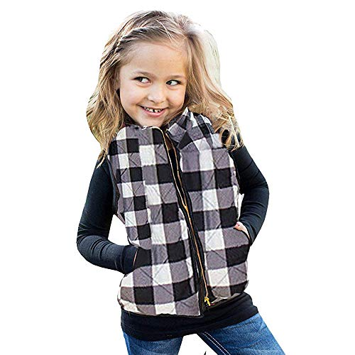 (Girls Plaid Quilted Vest Cute Puff Lined Gilet Toddler Baby Winter Warm Waistcoat Thick Coat Outwear Clothes Xmas Gifts (White, 18-24 Months))