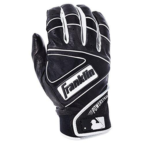 Franklin Sports MLB Powerstrap Batting Gloves, Black/Black - Adult (Franklin Leather Batting Glove)