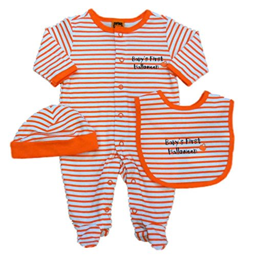 Infant Boys Orange Baby's First Halloween Sleeper Coverall Bib & Hat Set 6m