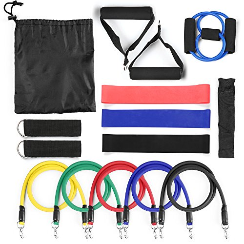 Lixada 15Pcs Resistance Bands Set,Workout Bands- with Door Anchor,Chest Expander,Cushioned Handles and Ankle Straps for Resistance Training,Physical Therapy,Home Workouts,Yoga,Pilates by Lixada (Image #1)