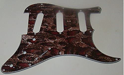 REPLACEMENT SSS PICKGUARD FOR FENDER STRATOCASTER BROWN SNAKESKIN PATTERN